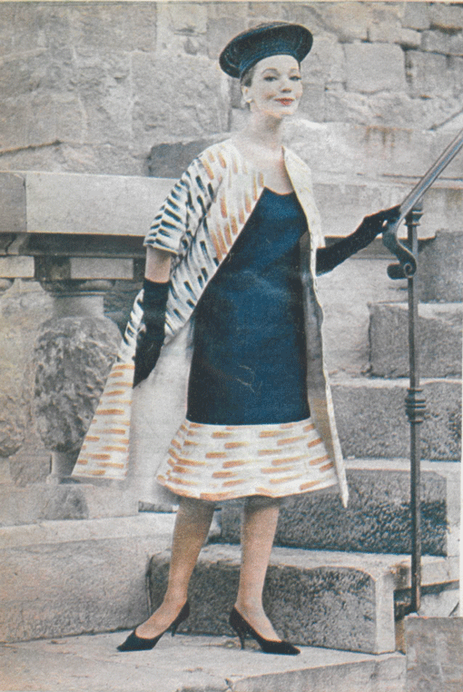 Germana Marucelli, Cocktail dress, Linea Assira, Spring/Summer 1962. Decorative patterns designed and hand-painted by Paolo Scheggi. Published in Eva, March 1962   Archivio Germana Marucelli