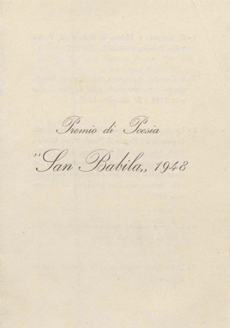 San Babila Prize rules, 1948 edition | Archivio Germana Marucelli