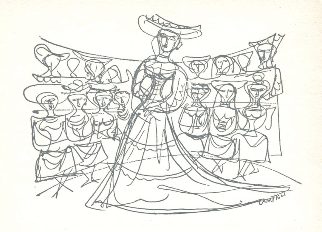 Massimo Campigli, Invitation card to fashion shows at Germana Marucelli's atelier, 1951 | Archivio Germana Marucelli