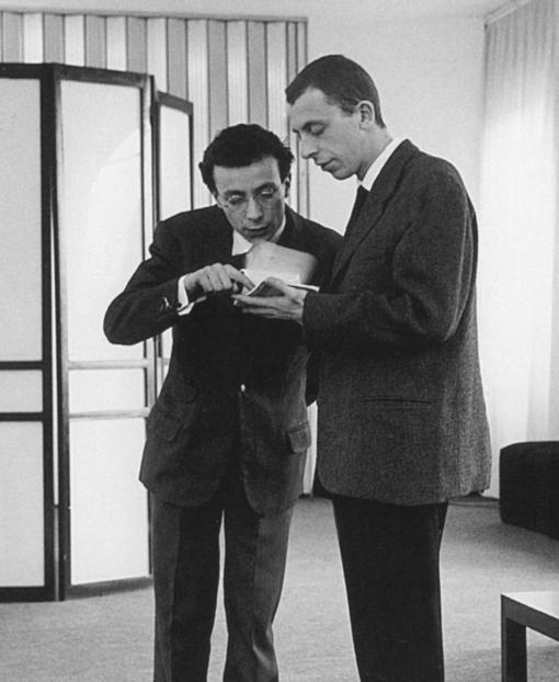 Paolo Scheggi and Getulio Alviani in Germana Marucelli's atelier, Corso Venezia 35, Milan, 1965. Photograph by Ada Ardessi © Isisuf, Milano