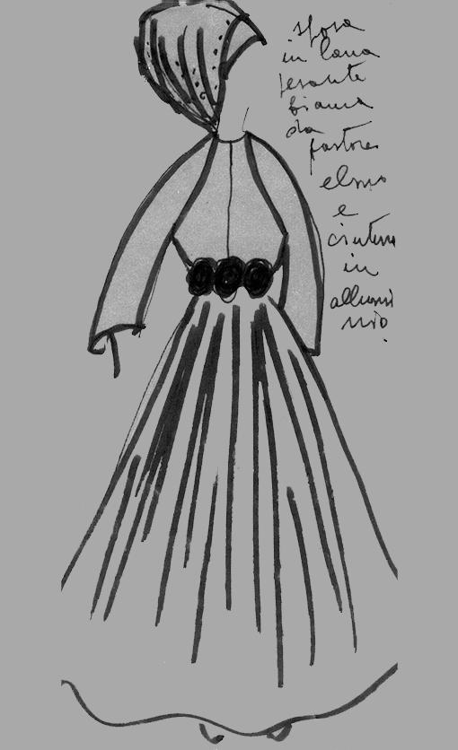 Germana Marucelli, Linea Alluminio sketch, 1968 | Archivio Germana Marucelli