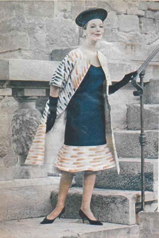 Germana Marucelli, abito da Cocktail linea Assira, primavera/estate 1962. Motivi decorativi ideati e dipinti a mano da Paolo Scheggi | Archivio Germana Marucelli