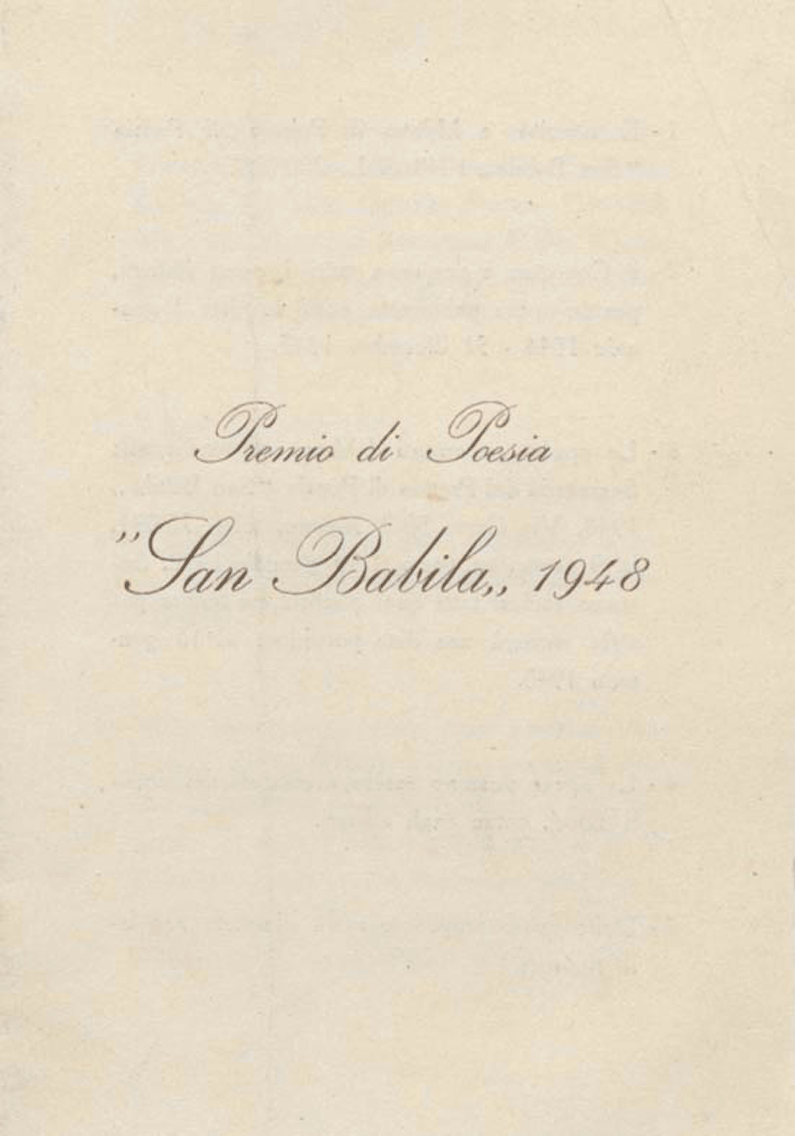 Primo Bando del Premio San Babila, 1948 | Archivio Germana Marucelli