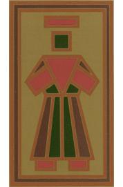 Germana Marucelli, Le Presenze: Presenza virile rossa, verde e marrone su fondo oro, Tavoletta aurea incisa e smaltata, 1974 | Archivio Germana Marucelli